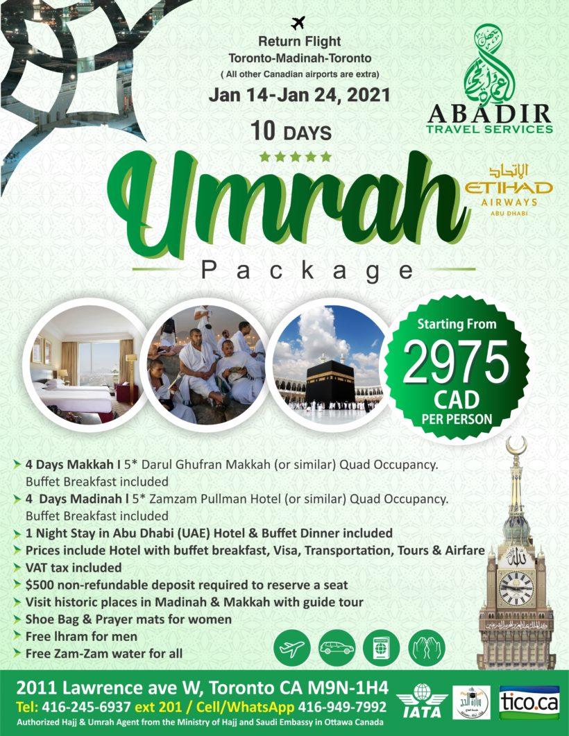 January 2021 Umrah Package - Sahal Umrah and Hajj